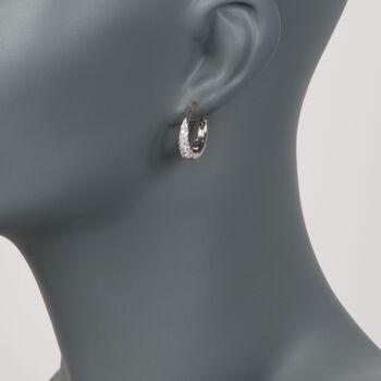 "Roberto Coin .60 ct. t.w. Diamond Hoop Earrings in 18kt White Gold. 3/4"""