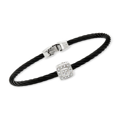 "ALOR ""Noir"" Black Cable Station Bracelet with Diamond Accent and 18kt White Gold"