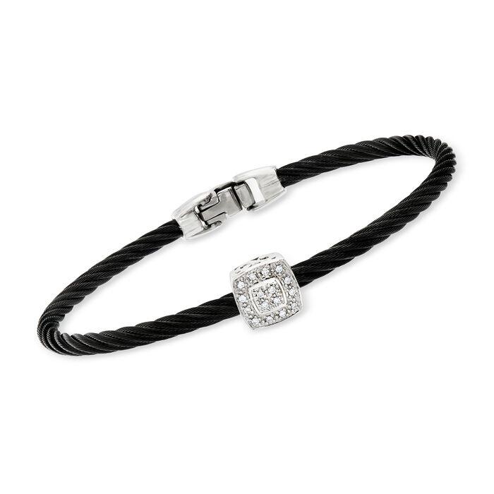 "ALOR ""Noir"" Black Cable Station Bracelet with Diamond Accent and 18kt White Gold. 7"""