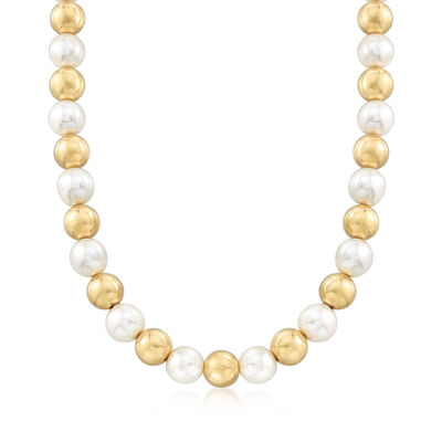 Italian Andiamo 14kt Yellow Gold Bead and Cultured Pearl Necklace with Magnetic Clasp, , default