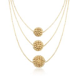 "Italian 18kt Gold Over Sterling Silver Beaded Dome Layered Necklace. 18"", , default"