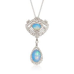 C. 2000 Vintage Opal and 1.25 ct. t.w. Diamond Chandelier Necklace in 18kt White Gold, , default
