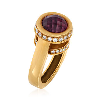 C. 1990 Vintage 5.00 Carat Amethyst and .75 ct. t.w. Diamond Ring in 18kt Yellow Gold. Size 6, , default