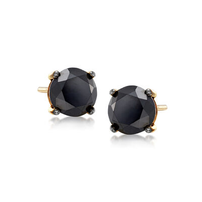 3.00 ct. t.w. Black Diamond Stud Earrings in 14kt Yellow Gold, , default