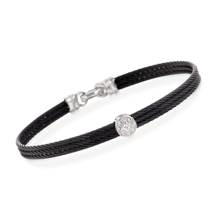 """ALOR """"Classique"""" Diamond Station Black Cable Bracelet with 18kt White Gold. 7"""""""