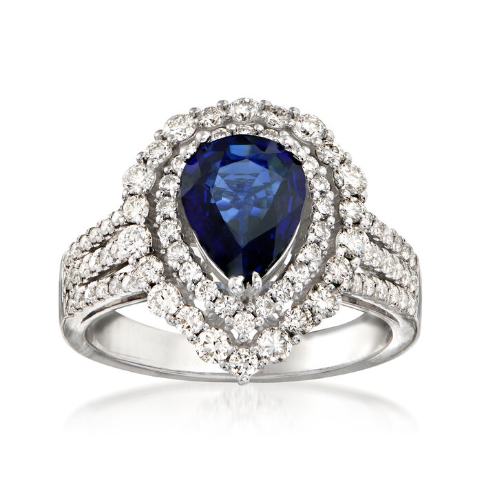 1.31 Carat Sapphire and .85 ct. t.w. Diamond Halo Ring in 14kt White Gold, , default