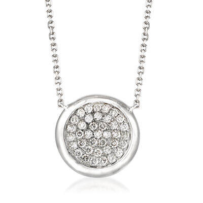.41 ct. t.w. Pave Diamond Circle Necklace in 14kt White Gold, , default