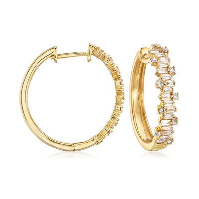 .57 ct. t.w. Diamond Hoop Earrings in 14kt Yellow Gold