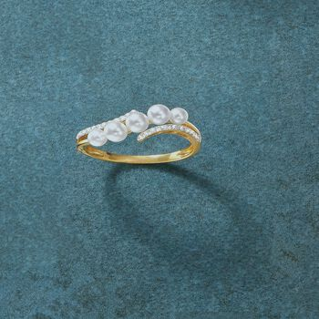 3-4mm Cultured Pearl and .10 ct. t.w. Diamond Wave Ring in 14kt Yellow Gold, , default