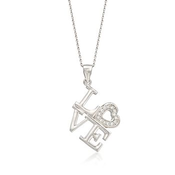 "Italian CZ-Accented ""Love"" Pendant Necklace in Sterling Silver. 18.25"", , default"