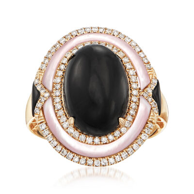 Black Onyx and .34 ct. t.w. Diamond Ring with Mother-Of-Pearl in 14kt Yellow Gold, , default