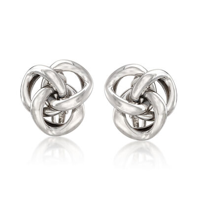Openwork Knot Clip-On Earrings in Sterling Silver, , default