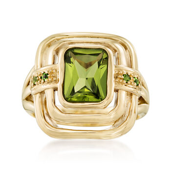 2.30 Carat Peridot Tiered Ring With Green Chrome Diopside in 14kt Yellow Gold, , default