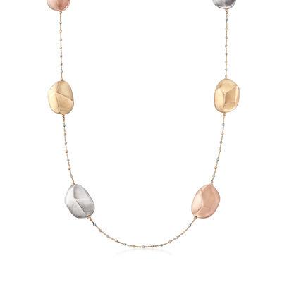 18kt Tri-Colored Gold Nugget Station Necklace, , default