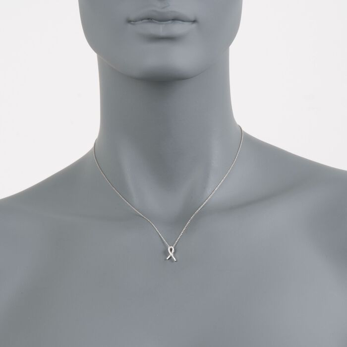 "Roberto Coin Tiny Treasure ""Hope"" Diamond Accent Necklace in 18kt White Gold. 18"""