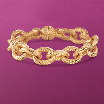 Andiamo Italian 14kt Yellow Gold Cable Link Bracelet, , default