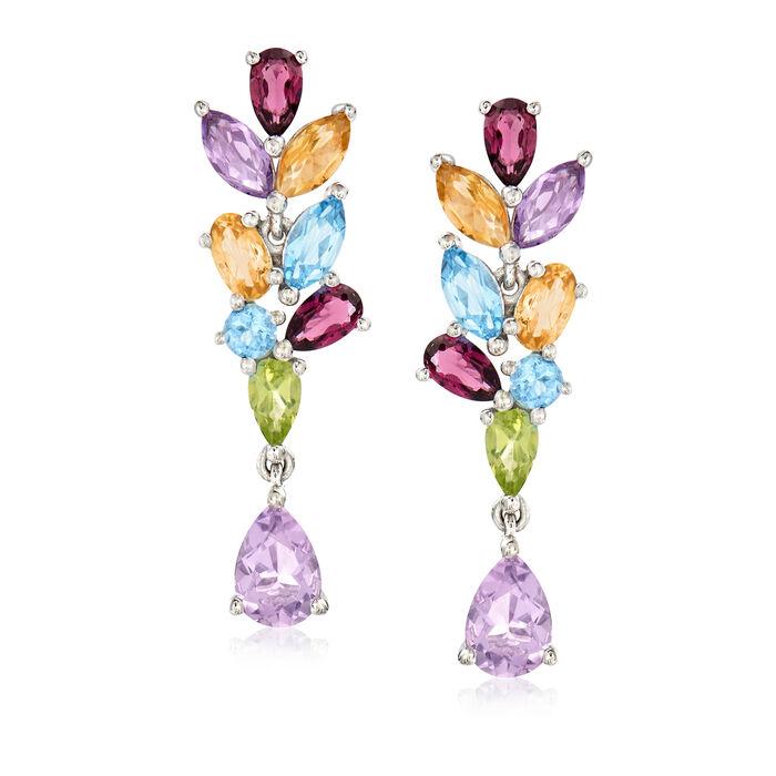 3.80 ct. t.w. Multi-Gemstone Drop Earrings in Sterling Silver
