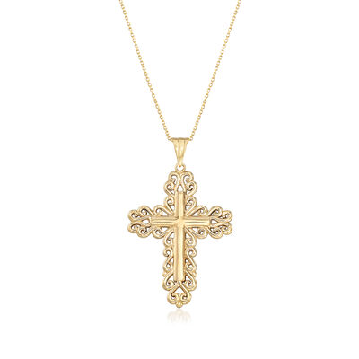 14kt Yellow Gold Filigreed Cross Pendant Necklace, , default