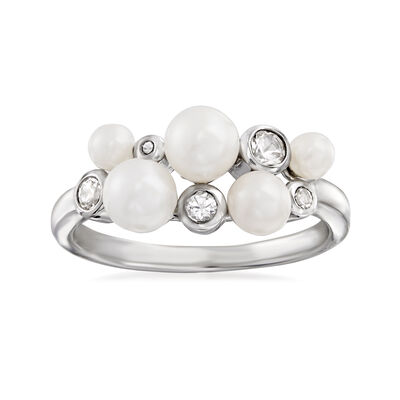 3-5.5mm Cultured Pearl and .40 ct. t.w. White Topaz Ring in Sterling Silver, , default