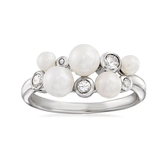 3-5.5mm Cultured Pearl and .40 ct. t.w. White Topaz Ring in Sterling Silver