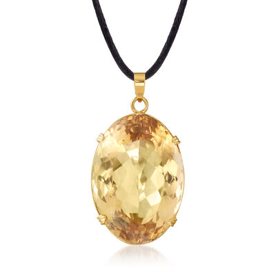 C. 1960 Vintage 262.00 Carat Citrine Pendant Necklace with Black Silk Cord and 14kt Yellow Gold