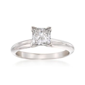 .93 Carat Princess-Cut Diamond Solitaire Engagement Ring in 14kt White Gold. Size 6, , default