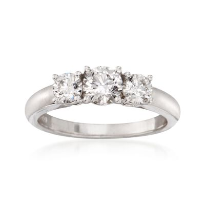 1.00 ct. t.w. Diamond Three-Stone Ring in 18kt White Gold, , default