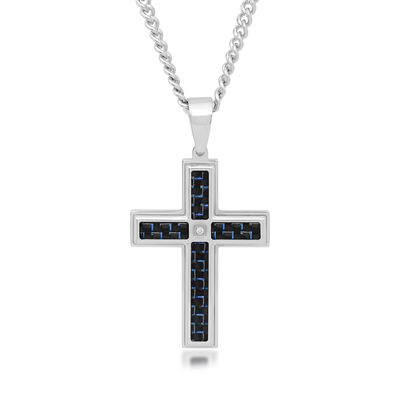 Men's Stainless Steel and Black and Blue Carbon Fiber Cross Pendant Necklace with Diamond Accent, , default