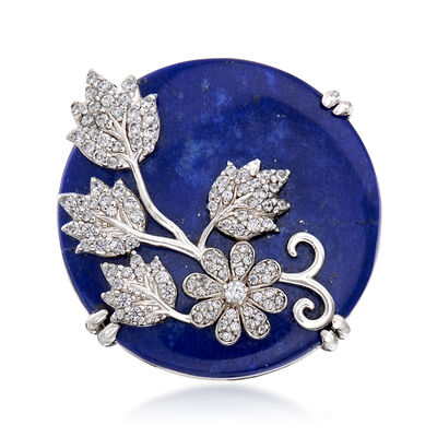 Lapis and .77 ct. t.w. White Zircon Floral Ring in Sterling Silver
