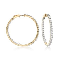 5.00 ct. t.w. Diamond Inside-Outside Hoop Earrings in 14kt Yellow Gold, , default