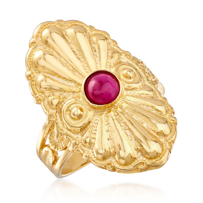 Italian .50 Carat Ruby Ring in 18kt Gold Over Sterling