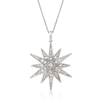 1.20 ct. t.w. Diamond Starburst Pendant Necklace in Sterling Silver, , default