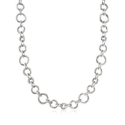 Italian Sterling Silver Multi-Size Round-Link Necklace, , default