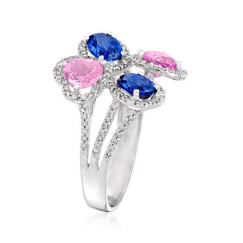 C. 1980 Vintage 4.00 ct. t.w. Pink and Blue Synthetic Sapphire and .40 ct. t.w. Diamond Cluster Ring in 14kt White Gold. Size 9