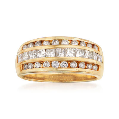 C. 1980 Vintage 1.50 ct. t.w. Diamond Triple-Row Ring in 14kt Yellow Gold