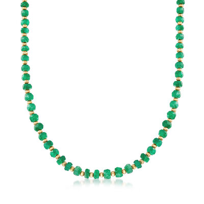 35.00 ct. t.w. Green Beryl Bead Necklace with 14kt Yellow Gold, , default