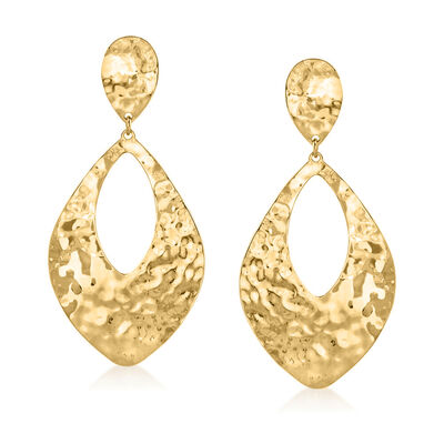 Italian 14kt Yellow Gold Hammered Teardrop Earrings