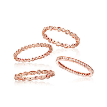 .73 ct. t.w. Diamond Jewelry Set: Four Eternity Bands in 14kt Rose Gold