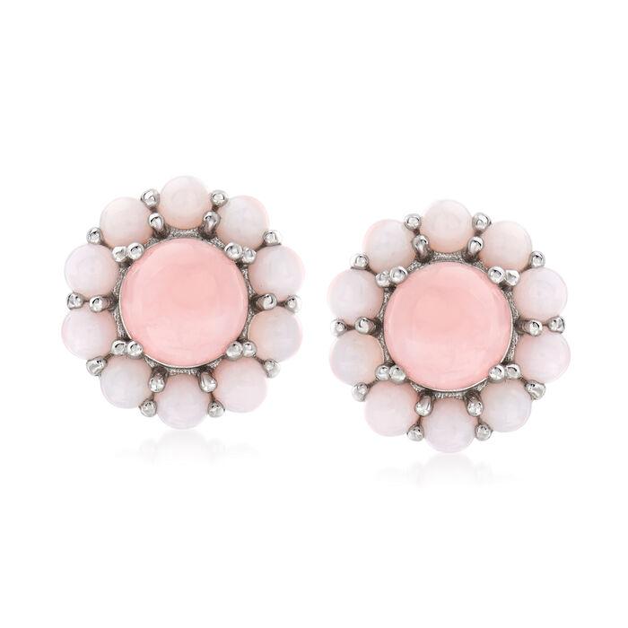 Pink Opal Earrings in Sterling Silver, , default