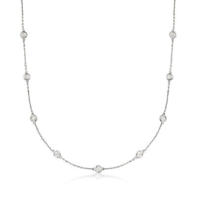 2.00 ct. t.w. Bezel-Set Diamond Station Necklace in Sterling Silver, , default