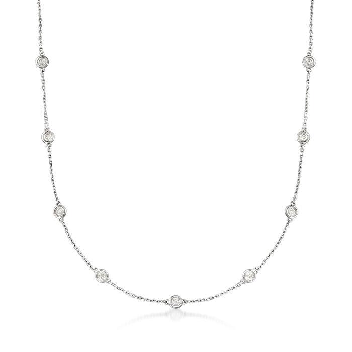 2.00 ct. t.w. Bezel-Set Diamond Station Necklace in Sterling Silver