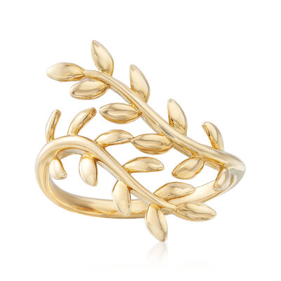 Leaf Vine Bypass Ring in 14kt Yellow Gold, , default