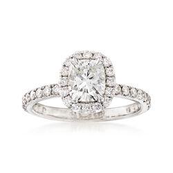 1.58 ct. t.w. Diamond Halo Engagement Ring in Platinum, , default
