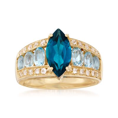 4.30 ct. t.w. London and Blue Topaz and White Topaz Ring in 14kt Yellow Gold, , default