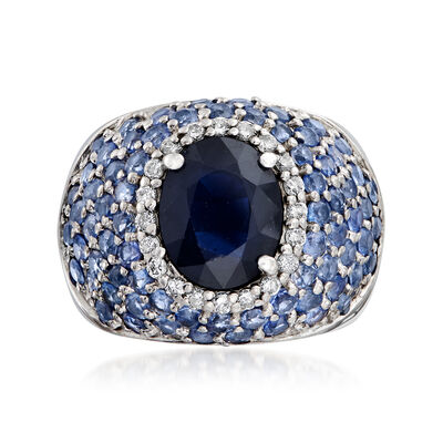 C. 1980 Vintage 6.25 ct. t.w. Sapphire and .30 ct. t.w. Diamond Dome Ring in 14kt White Gold, , default