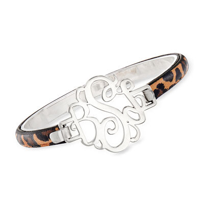 Sterling Silver Monogram Bracelet with Leopard Leather