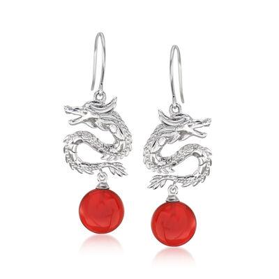 Red Agate Dragon Drop Earrings in Sterling Silver, , default