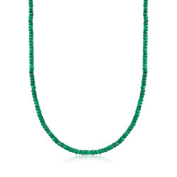 50.00 ct. t.w. Emerald Bead Necklace in 14kt Yellow Gold, , default