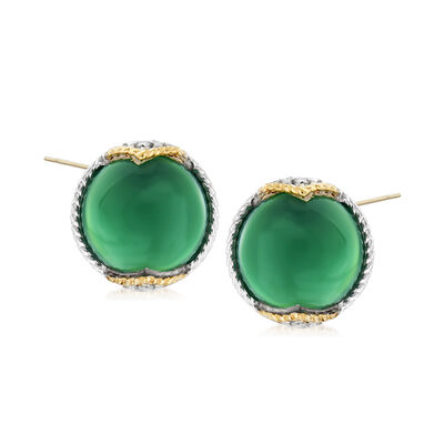 "Andrea Candela ""Dulcitos"" Green Agate Earrings in Sterling Silver and 18kt Yellow Gold"