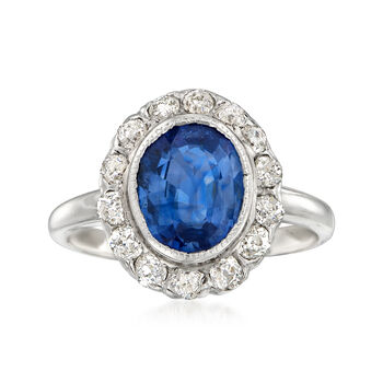 C. 1990 Vintage 2.36 Carat Sapphire and .55 ct. t.w. Diamond Ring in 14kt White Gold. Size 6.25, , default